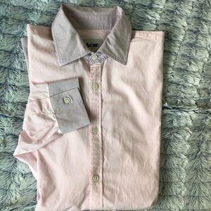 ACNE studios pink dress shirt purple collar 50
